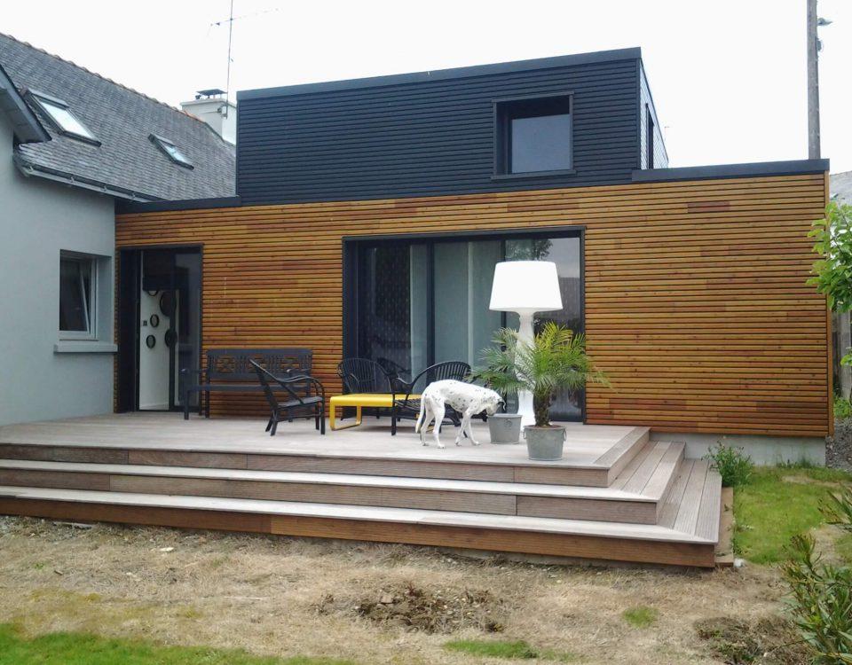 construction d'une extension avec une terrasse pour une maison à landerneau