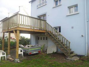 extension de terrasse surélevé pour une maison de landerneau