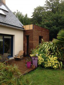 extension moderne en rez de chaussée d'une maison de plougastel